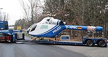 Der Helikopter vom Typ MD 902 nach seiner Komplettlackierung