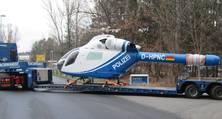 Nach kompletten Farbaufbau durch die heller Lackiererei auf dem Weg zur Polizei-Hubschrauberstaffel